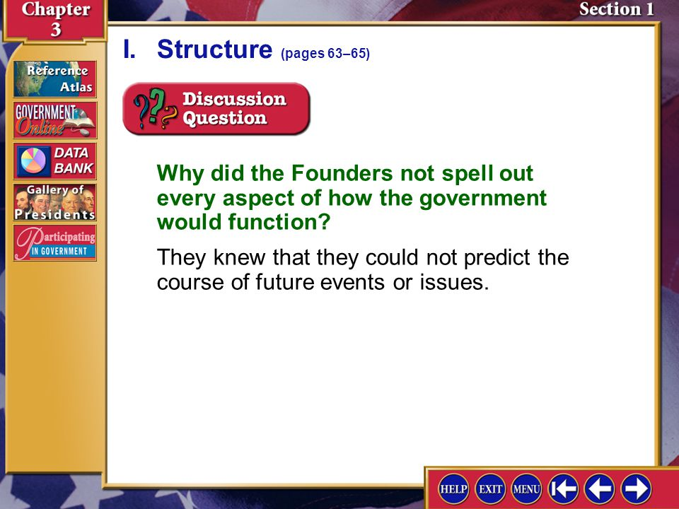 I. Structure (pages 63–65) Why did the Founders not spell out every aspect of how the government would function
