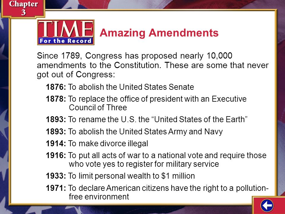 Amazing Amendments Since 1789, Congress has proposed nearly 10,000 amendments to the Constitution. These are some that never got out of Congress: