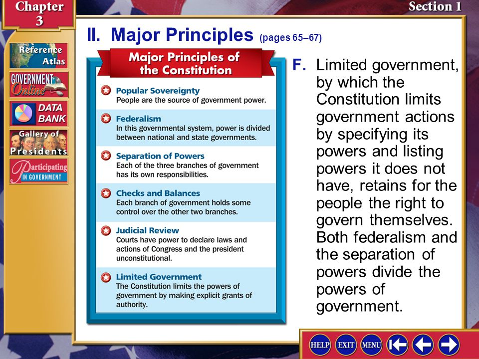II. Major Principles (pages 65–67)