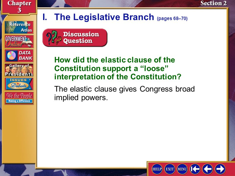 I. The Legislative Branch (pages 68–70)