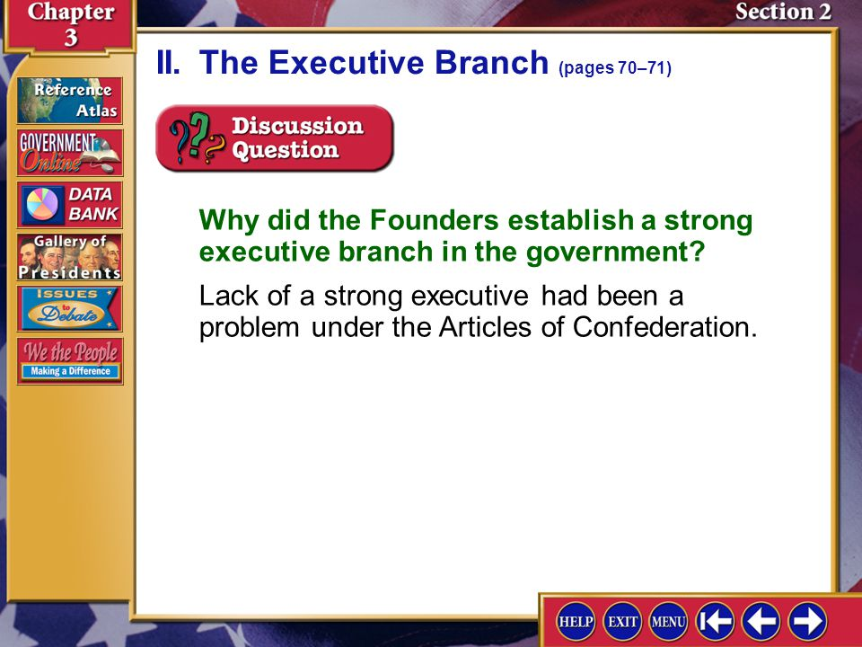 II. The Executive Branch (pages 70–71)