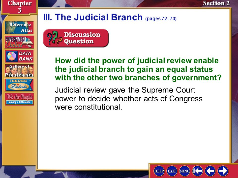 III. The Judicial Branch (pages 72–73)