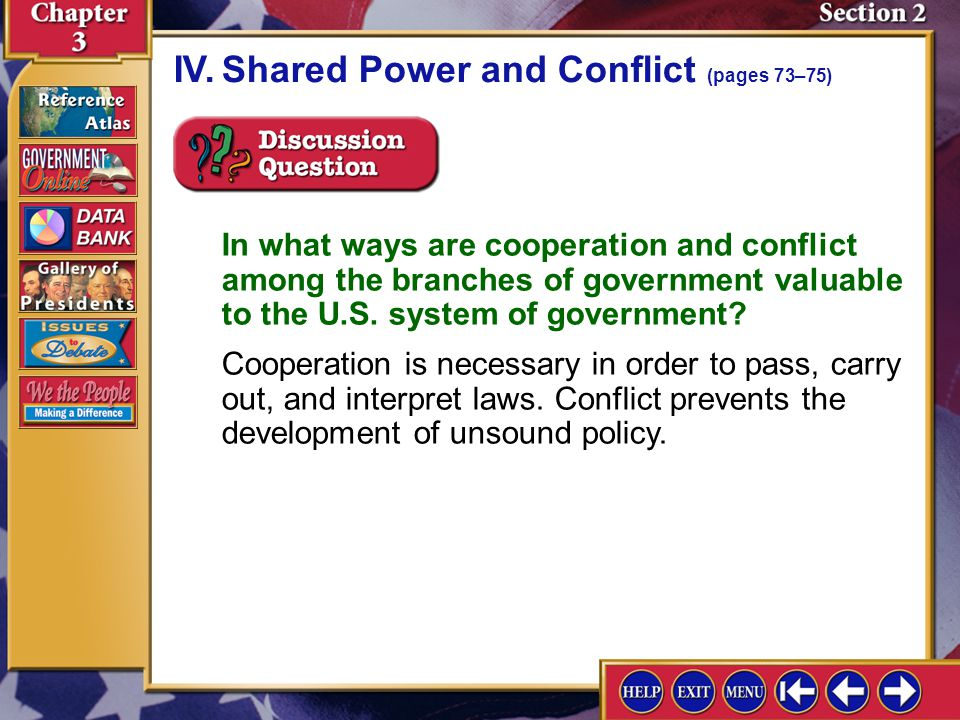 IV. Shared Power and Conflict (pages 73–75)
