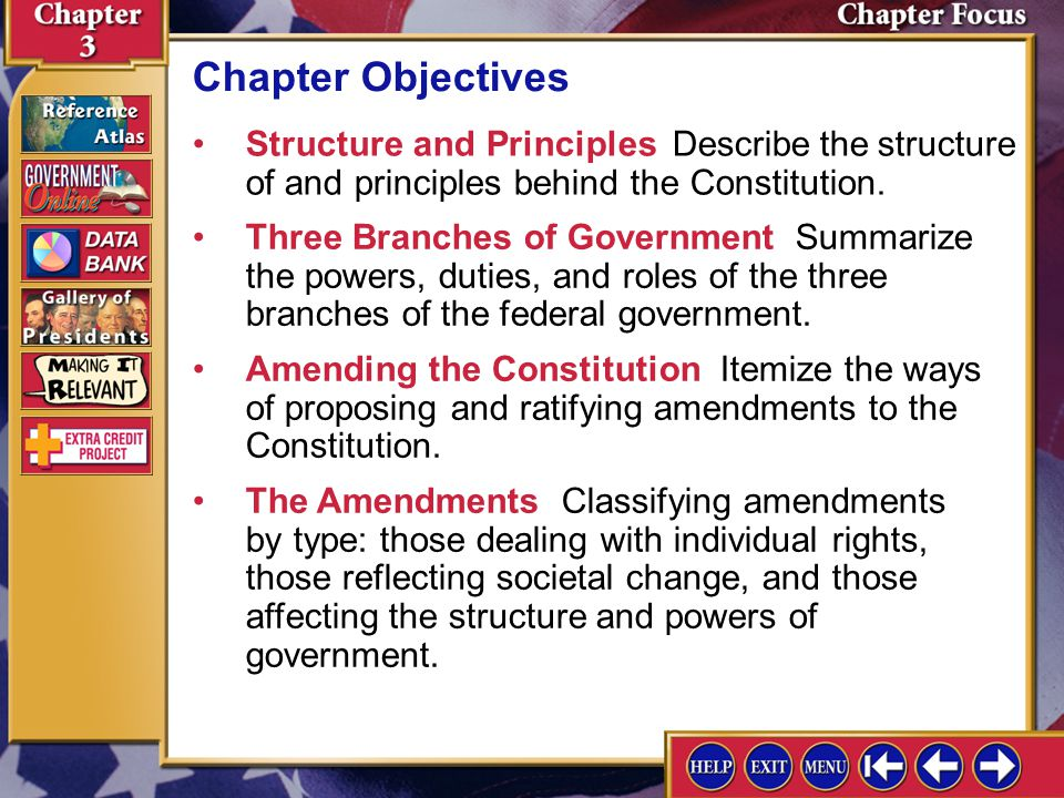 Chapter Objectives Structure and Principles Describe the structure of and principles behind the Constitution.