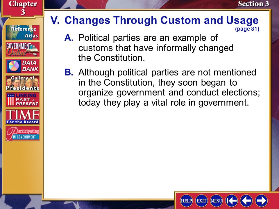 V. Changes Through Custom and Usage (page 81)