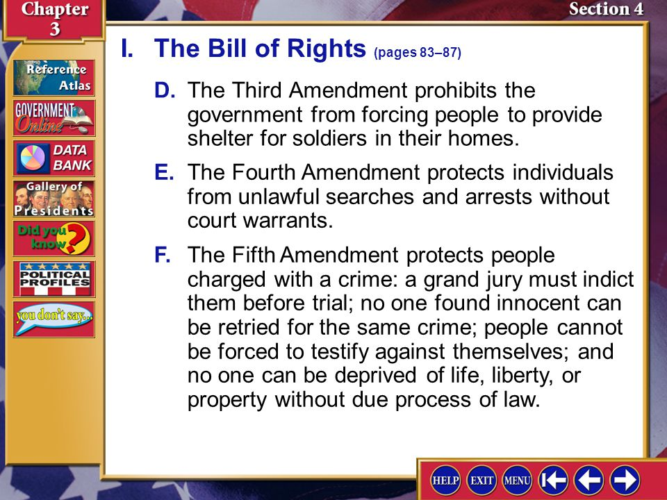 I. The Bill of Rights (pages 83–87)