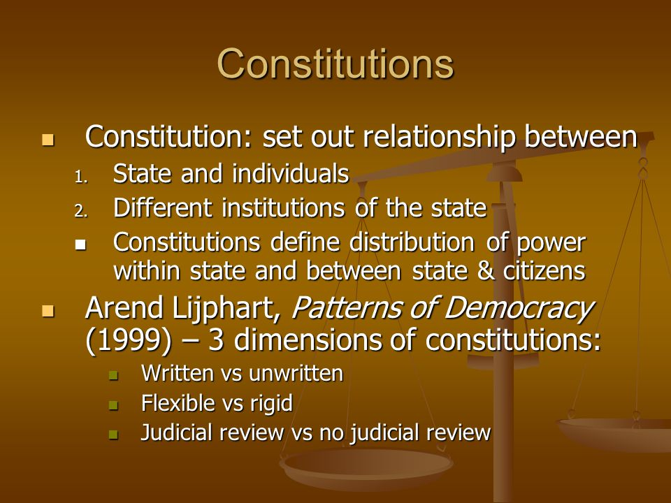 Constitutions Constitution: set out relationship between