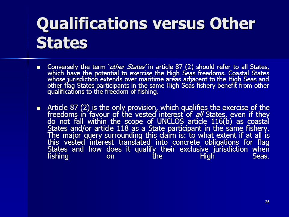 Qualifications versus Other States