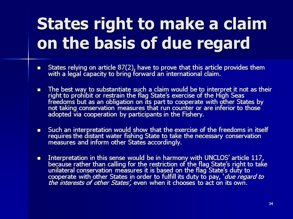 States right to make a claim on the basis of due regard