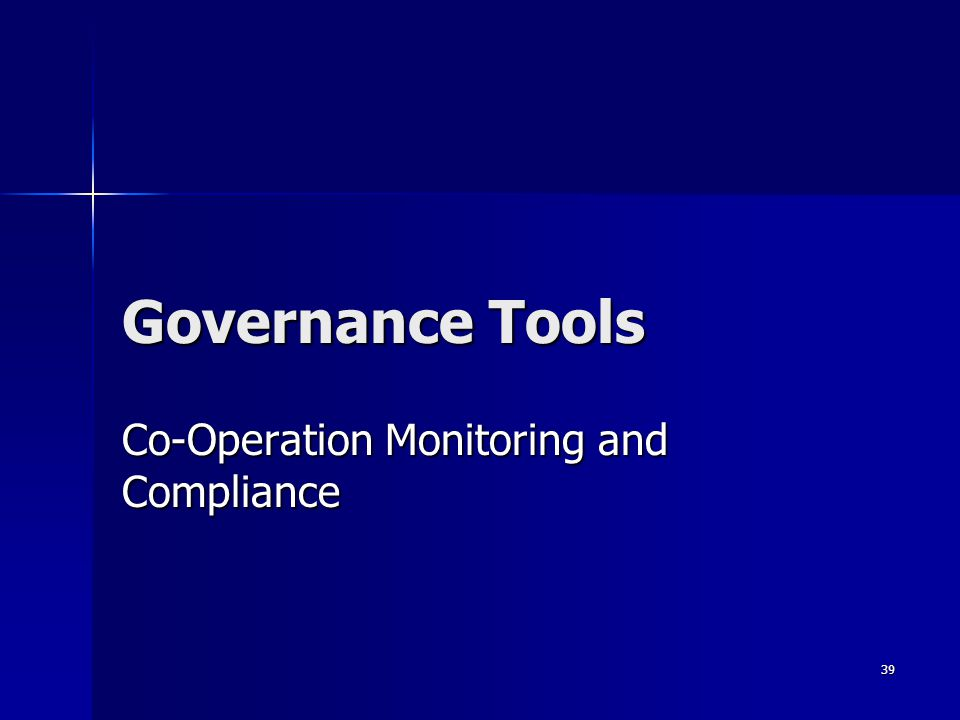 Co-Operation Monitoring and Compliance