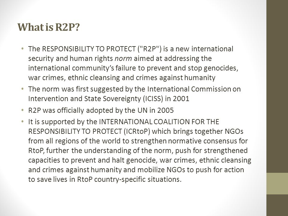 What is R2P