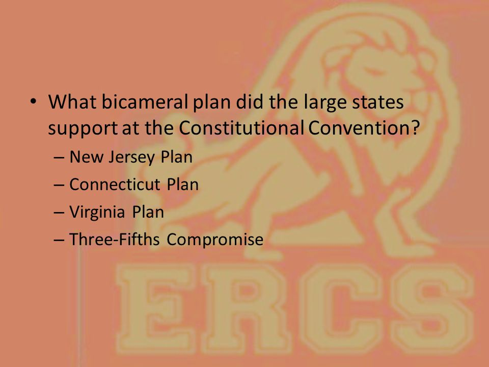What bicameral plan did the large states support at the Constitutional Convention