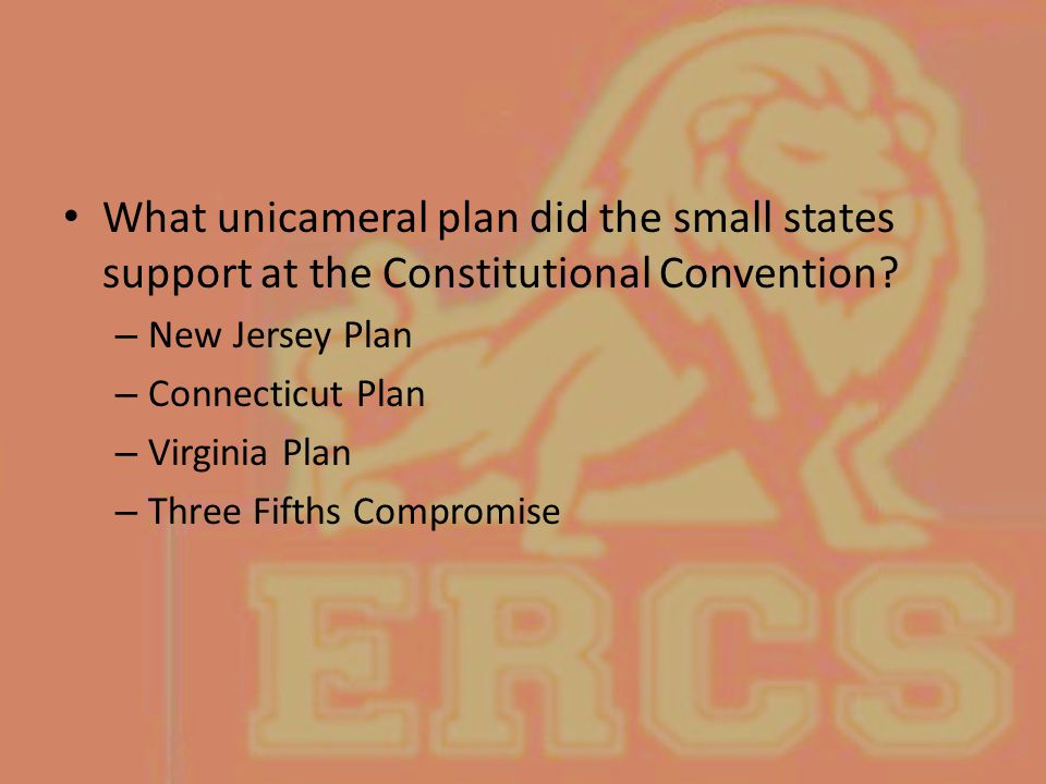 What unicameral plan did the small states support at the Constitutional Convention