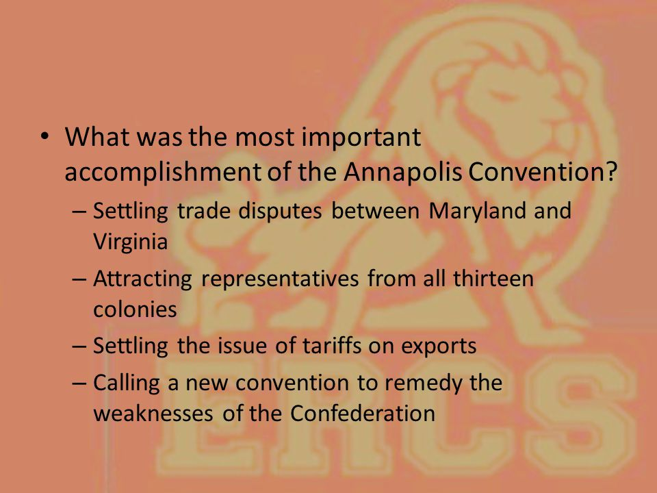 What was the most important accomplishment of the Annapolis Convention