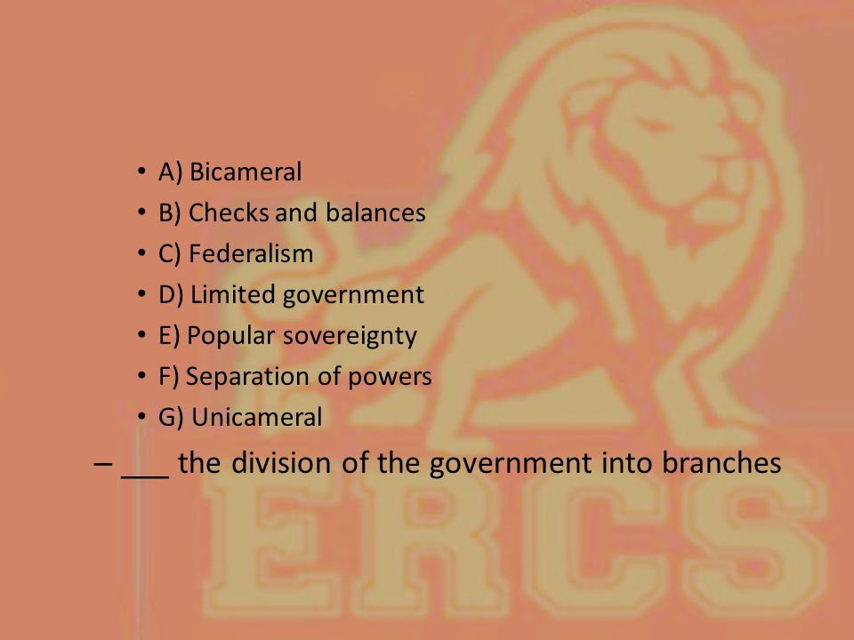 ___ the division of the government into branches