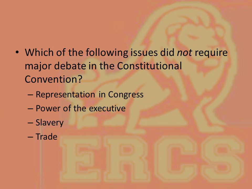 Which of the following issues did not require major debate in the Constitutional Convention