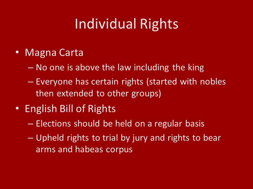 Individual Rights Magna Carta English Bill of Rights