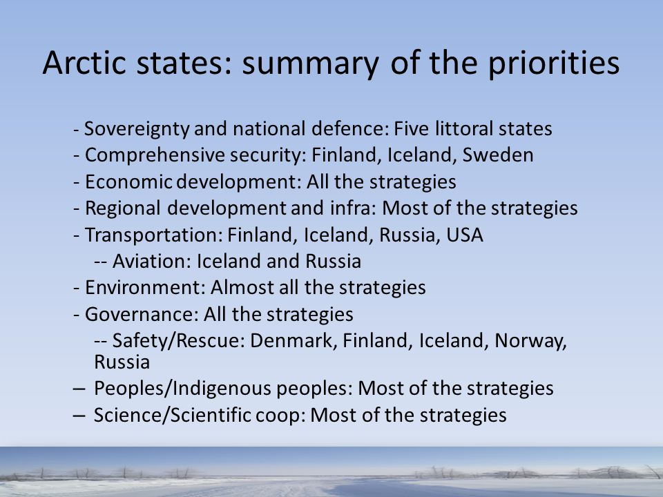 Arctic states: summary of the priorities
