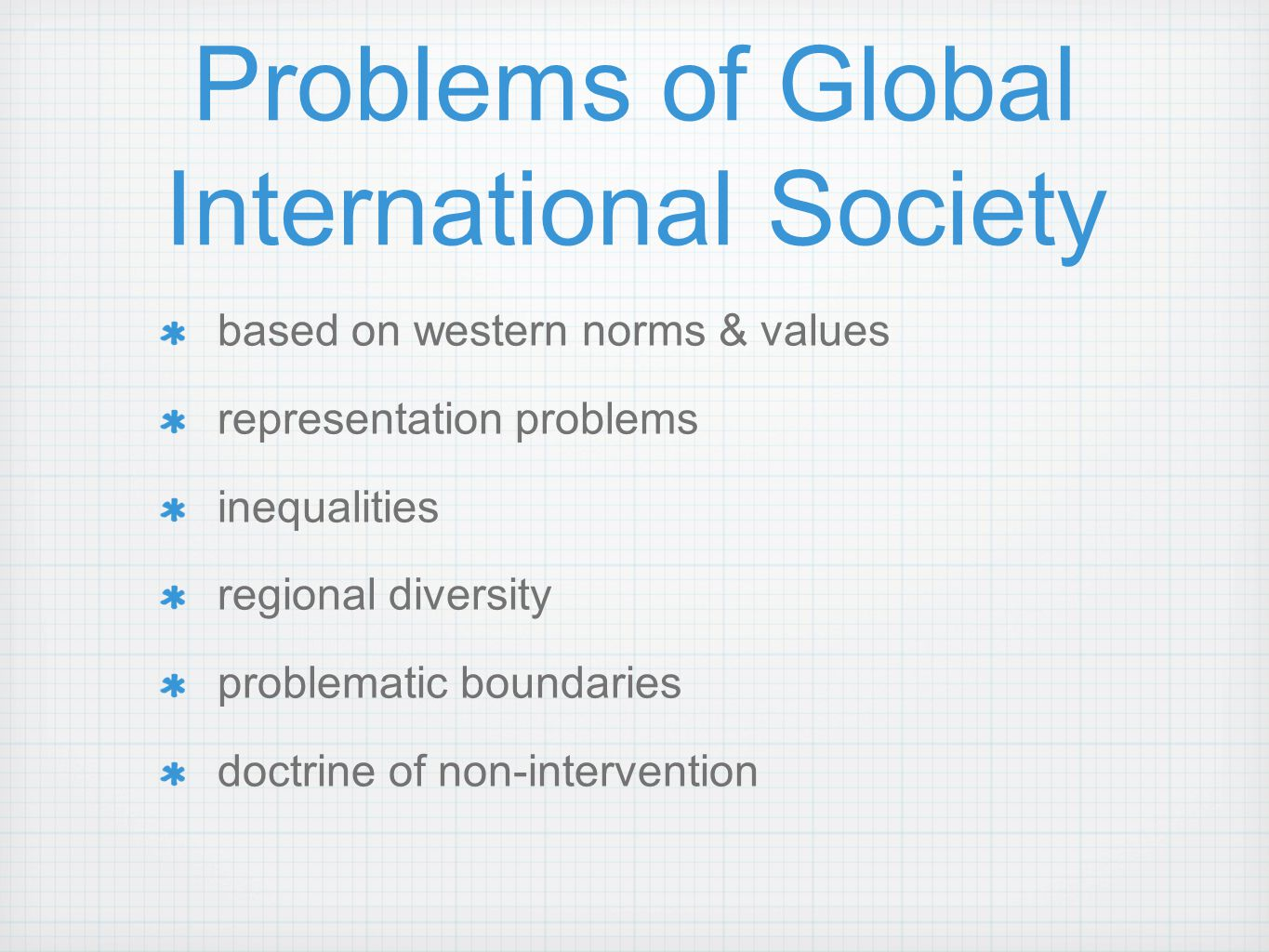 Problems of Global International Society
