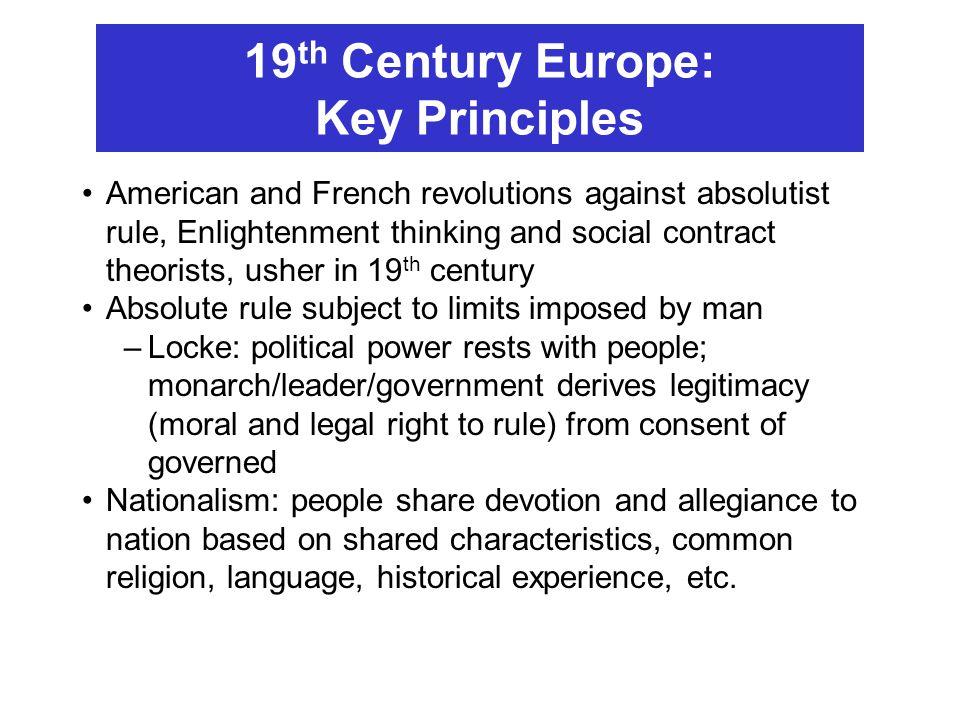 19th Century Europe: Key Principles