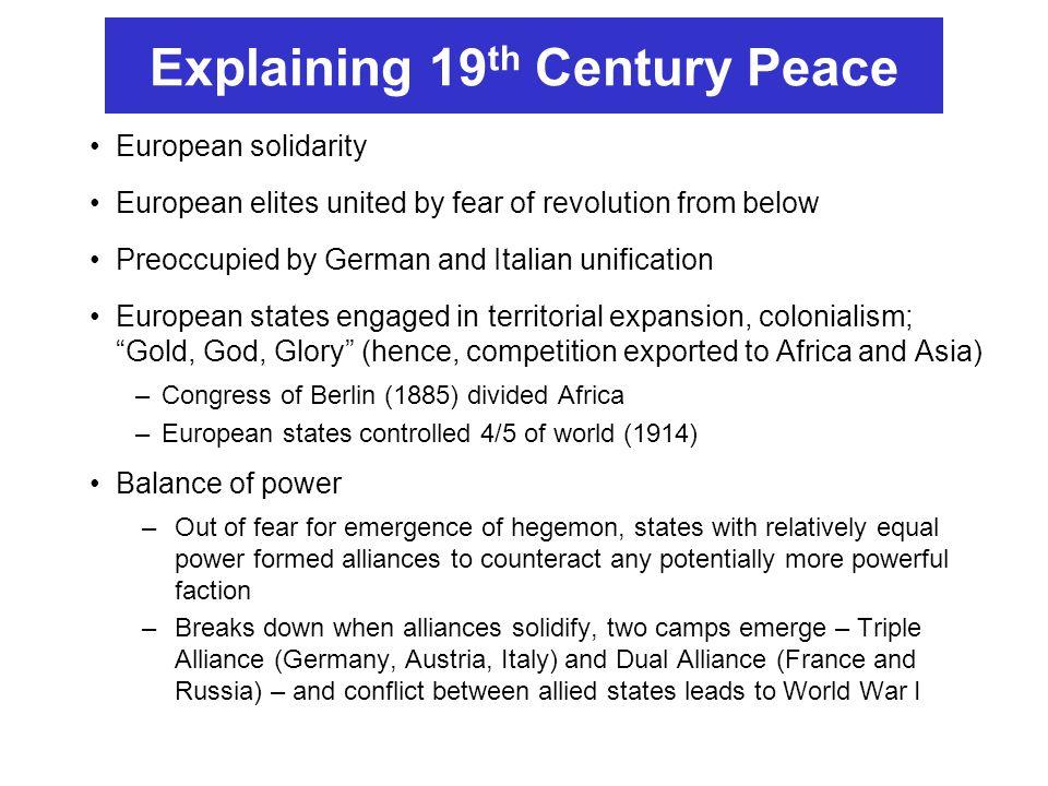 Explaining 19th Century Peace