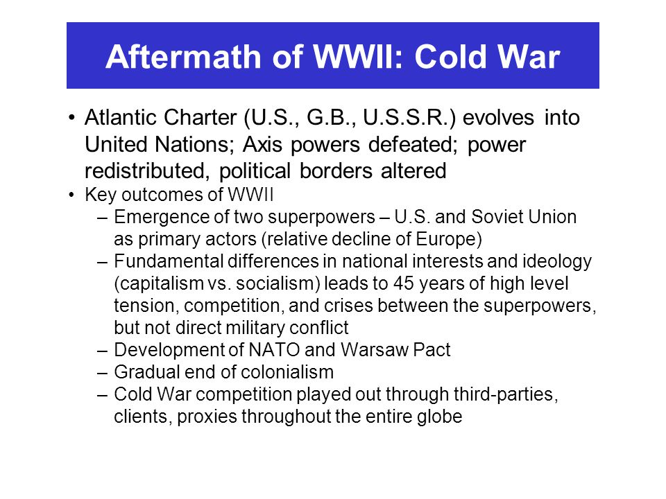 Aftermath of WWII: Cold War