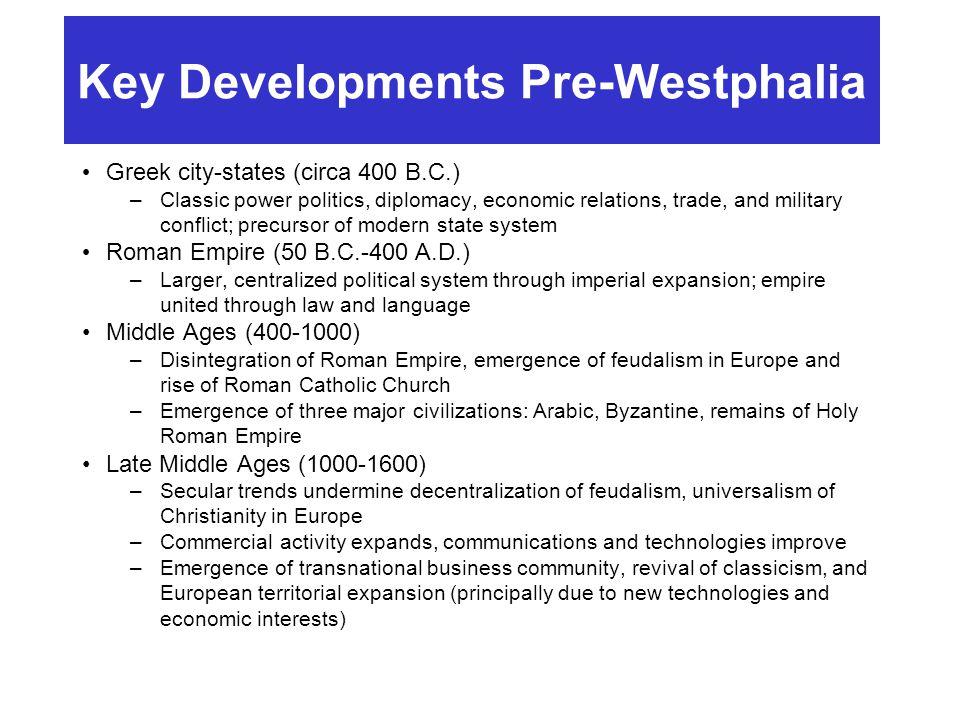 Key Developments Pre-Westphalia