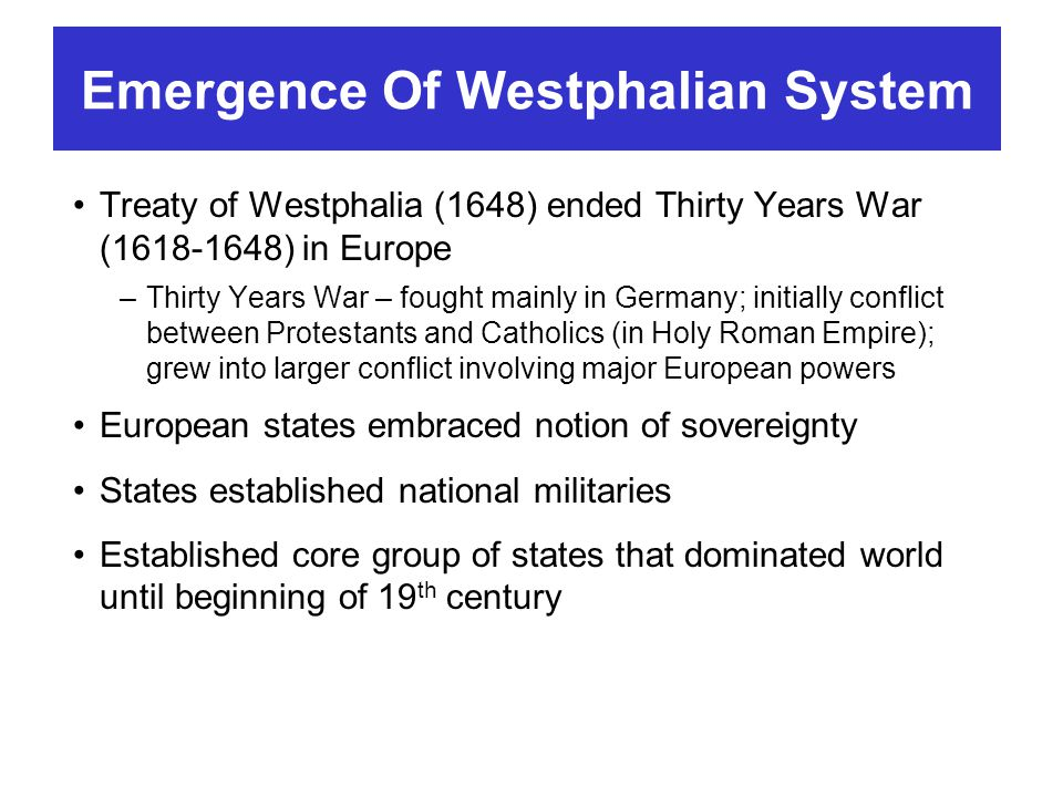 Emergence Of Westphalian System