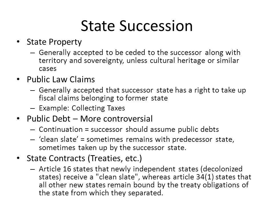 State Succession State Property Public Law Claims