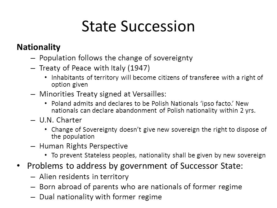 State Succession Nationality