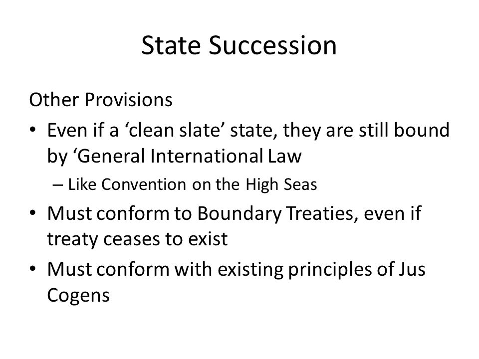 State Succession Other Provisions