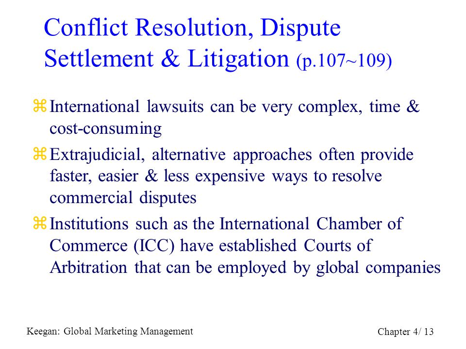 Conflict Resolution, Dispute Settlement & Litigation (p.107~109)