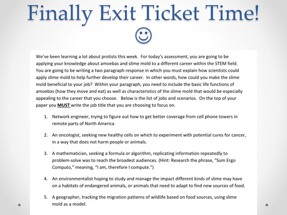Finally Exit Ticket Time! 