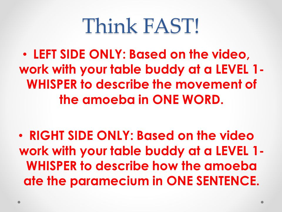 Think FAST! LEFT SIDE ONLY: Based on the video, work with your table buddy at a LEVEL 1-WHISPER to describe the movement of the amoeba in ONE WORD.