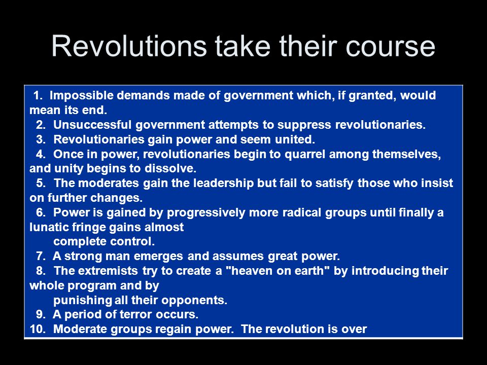 Revolutions take their course