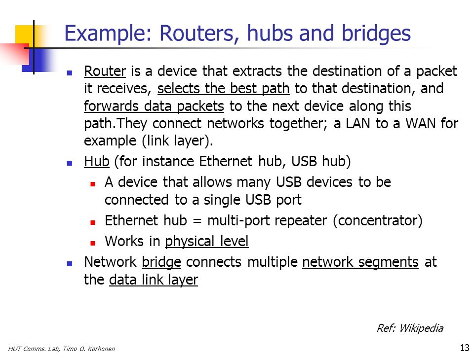 Example: Routers, hubs and bridges