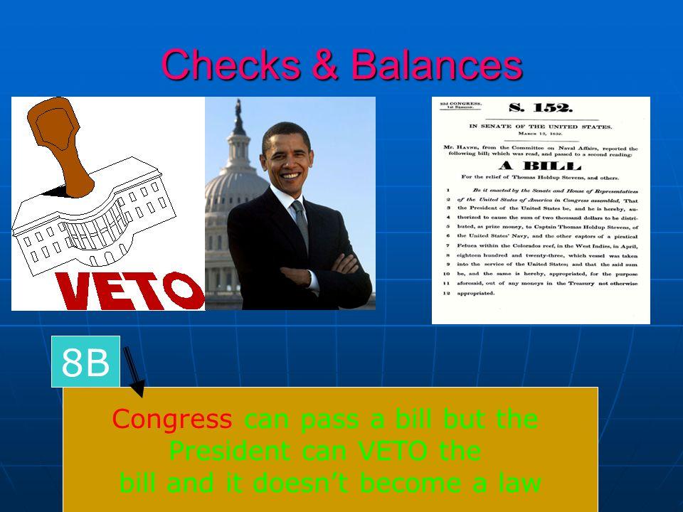 Checks & Balances 8B Congress can pass a bill but the