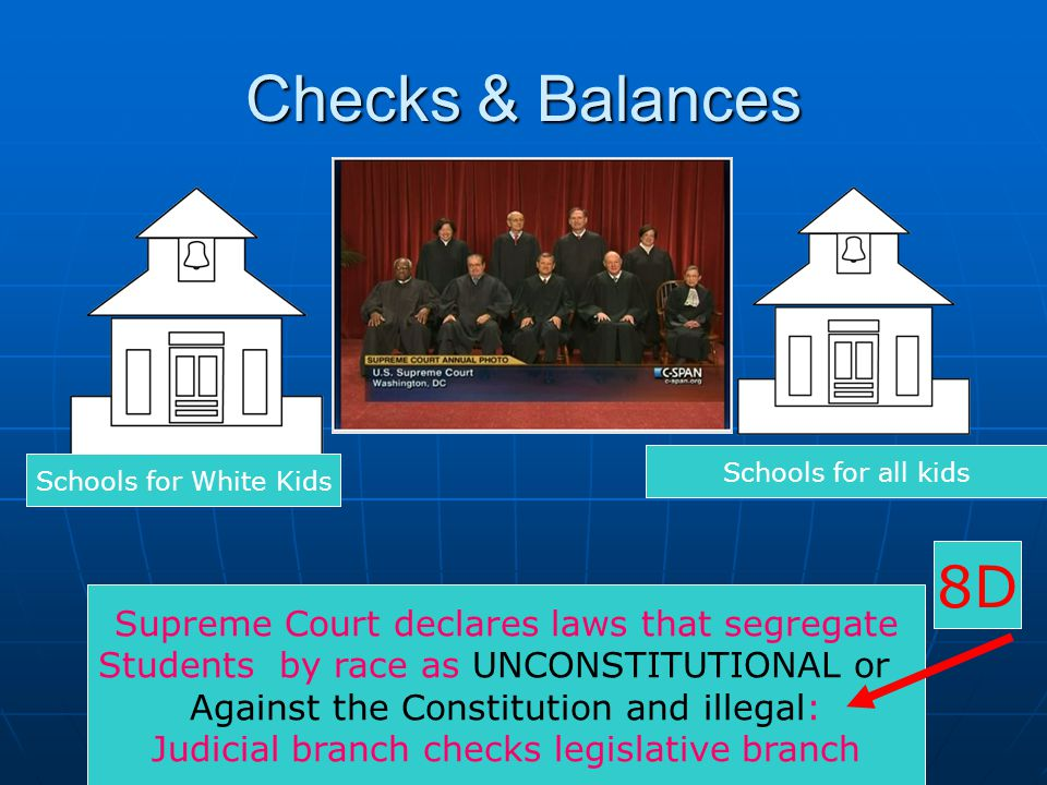 Checks & Balances 8D Supreme Court declares laws that segregate