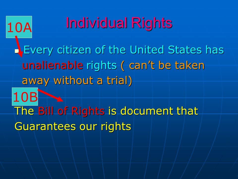 Individual Rights 10A 10B Every citizen of the United States has