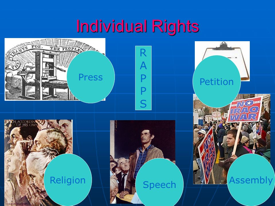 Individual Rights R A P S Press Petition Religion Assembly Speech