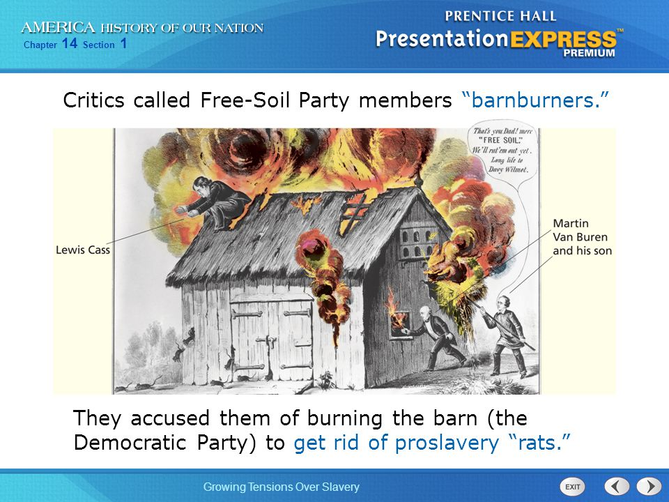 Critics called Free-Soil Party members barnburners.