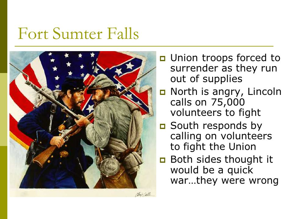 Fort Sumter Falls Union troops forced to surrender as they run out of supplies. North is angry, Lincoln calls on 75,000 volunteers to fight.