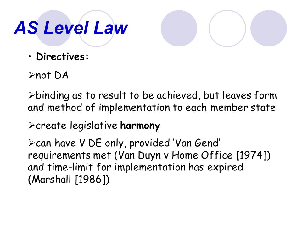 AS Level Law Directives: not DA