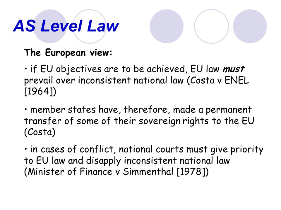 AS Level Law The European view: