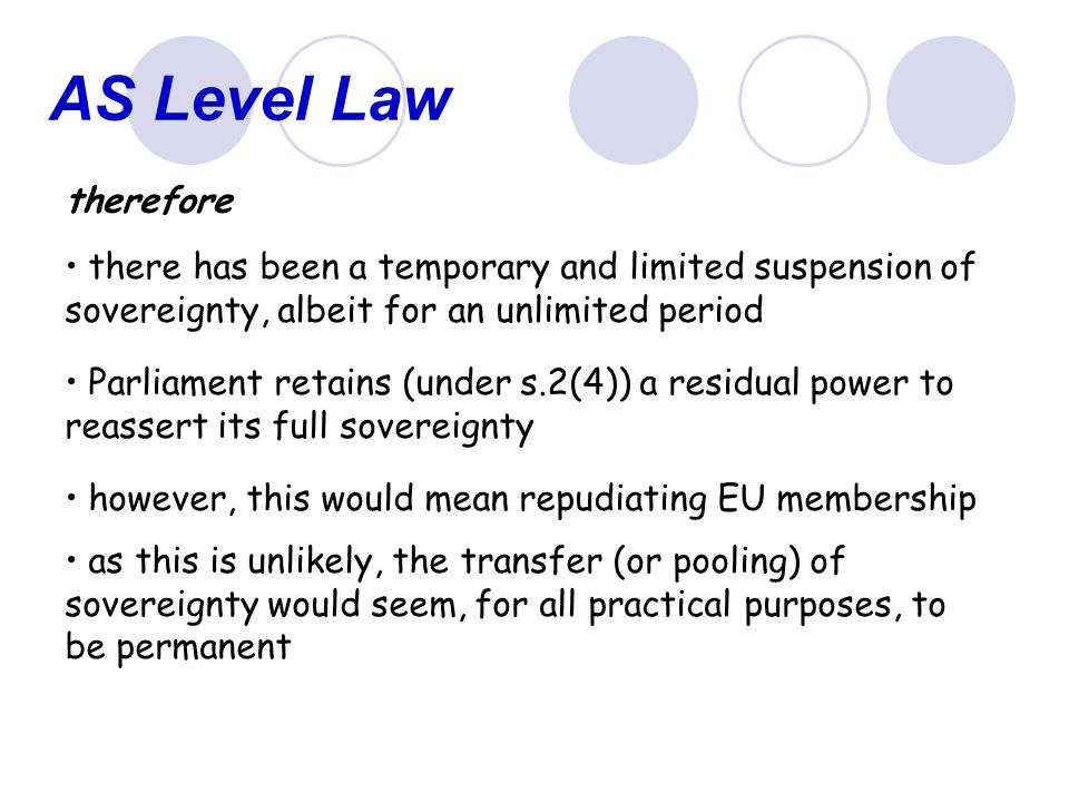 AS Level Law therefore. there has been a temporary and limited suspension of sovereignty, albeit for an unlimited period.