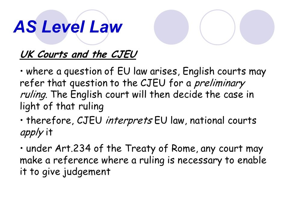 AS Level Law UK Courts and the CJEU