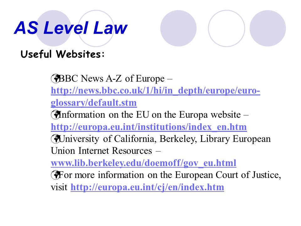 AS Level Law Useful Websites: