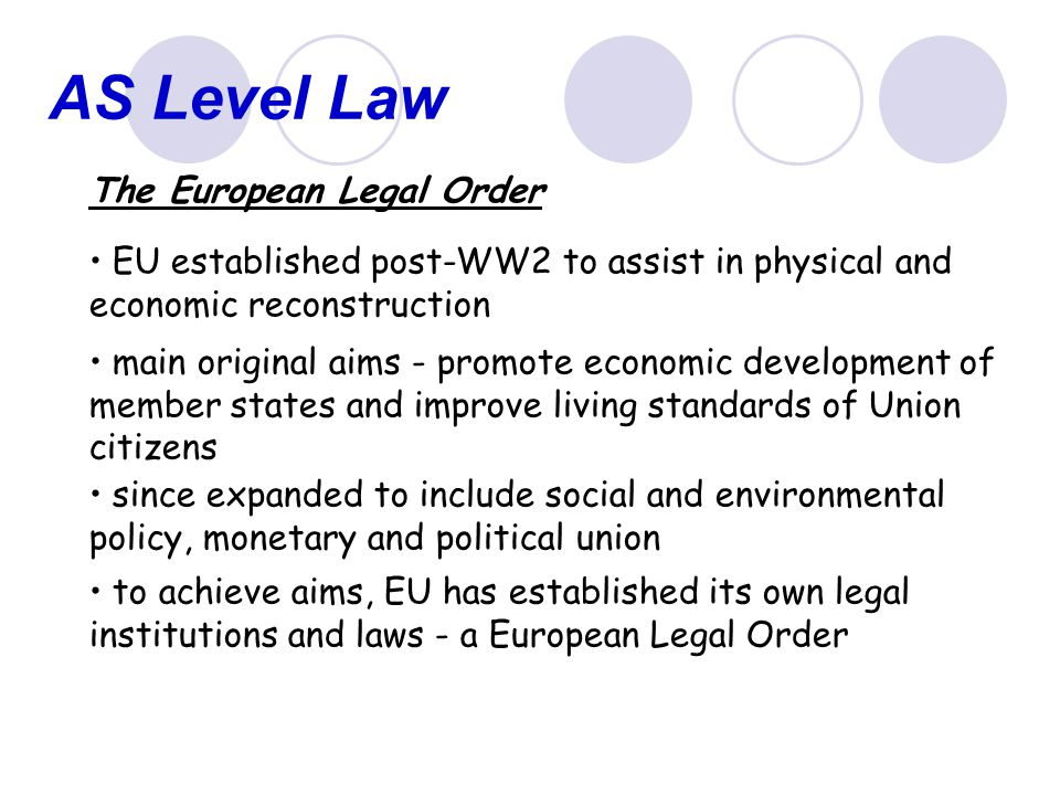 AS Level Law The European Legal Order