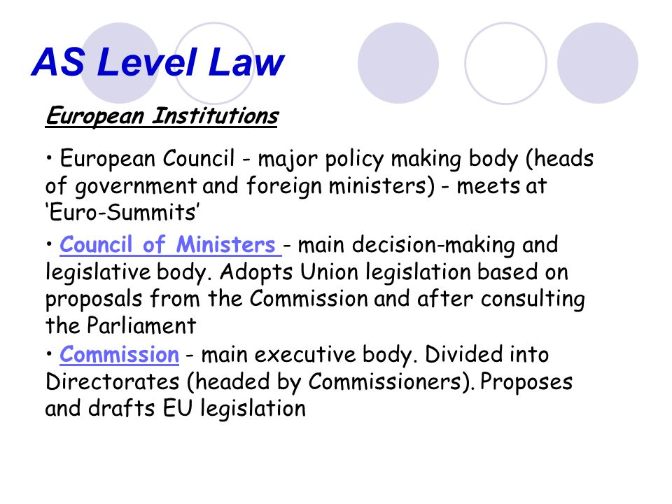 AS Level Law European Institutions