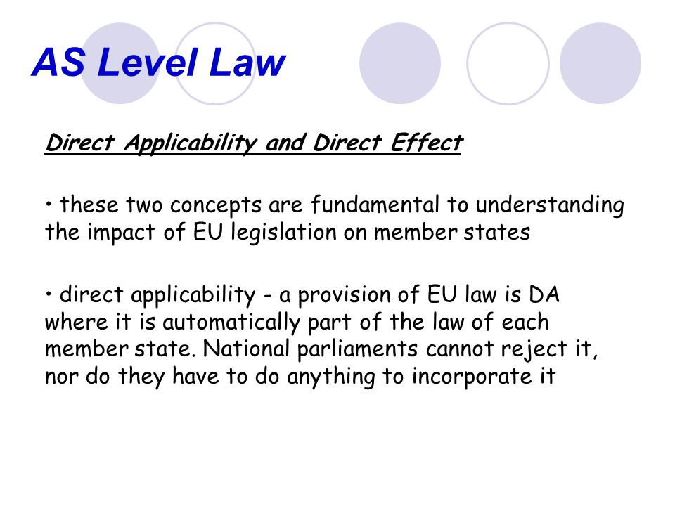 AS Level Law Direct Applicability and Direct Effect